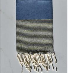 Fouta lurex bleu jean