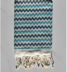 Fouta zigzag crème,bleu cobalt et Turquoise