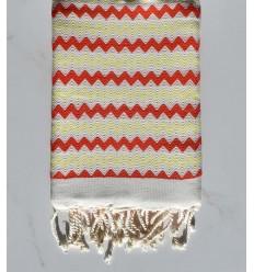 Fouta zigzag Blanc, rouge vif et jaune clair
