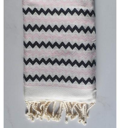 Fouta zigzag Blanc, Rose trés clair et noir