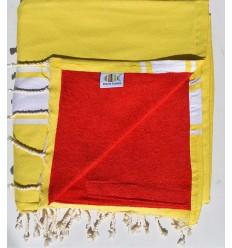 fouta doublée éponge jaune cobalt et rouge