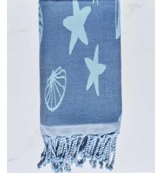 Fouta jacquard étoile de mer bleu bleuet et bleu ciel clair