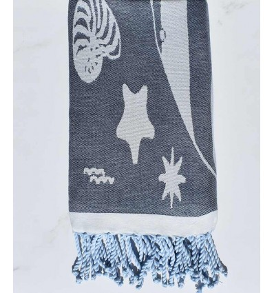Fouta jacquard étoile de mer bleu marine et bleu fumé