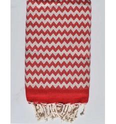 Fouta zigzag rouge et blanc crème