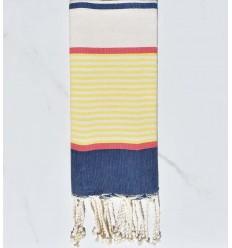 fouta enfants bleu jean foncé, jaune, rouge, blanc cassé