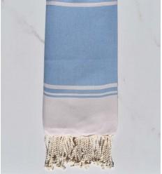 serviette de plage RAF-RAF bleu bleuet et rose pastel pâle
