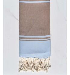 serviette de plage RAF-RAF bleu ciel et marron bistre