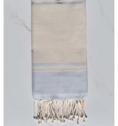 serviette de plage RAF-RAF blanc crémé et bleu ciel
