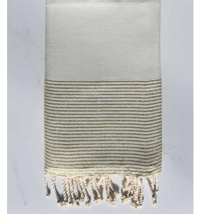 Fouta lurex plate écru mélangé avec fil lurex doré