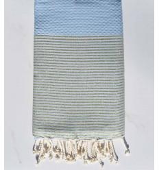 fouta lurex nid d'abeille bleu maya