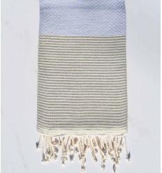 fouta lurex nid d'abeille gris souris avec fil lurex doré