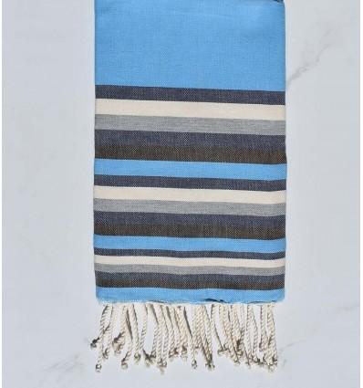 Fouta Plate bleu clair, bleu nuit, blanc, gris et marron