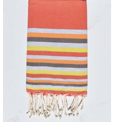 Fouta Plate orange,gris,chair,marron et jaune