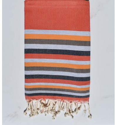 Fouta Plate orange,gris,chair,marron et bleu