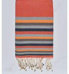 Fouta Plate orange,gris foncé,chair,marron et bleu