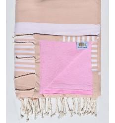 fouta arthur doublée éponge beige rosé et rose