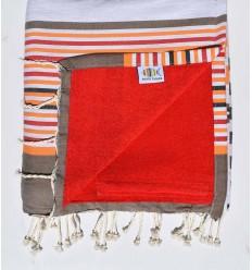 fouta doublée éponge rouge,beige corindon,gris,orange,noir