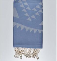Fouta bohémian bleu barbeau