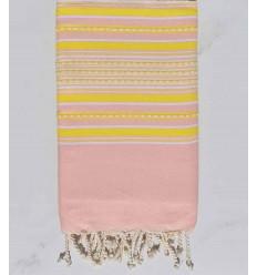Fouta arabesque rose bébé rayée jaune
