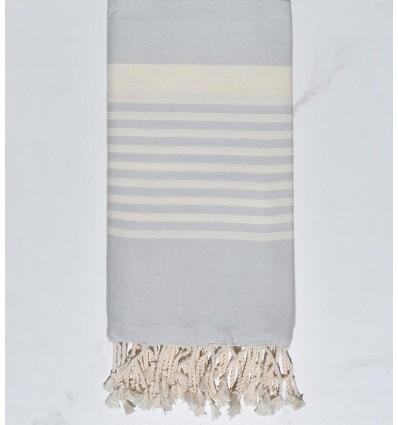 Fouta arthur bleu pale rayée blanc