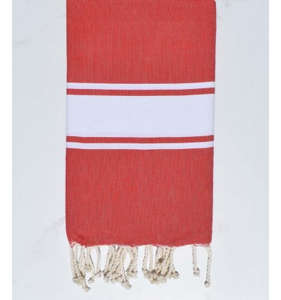 Fouta Plate rouge corail