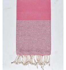 Fouta plate rose moyen argenté
