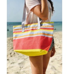 Sac de plage fouta 5 couleurs nacarat clair,gris,orange,bleu ciel et jaune