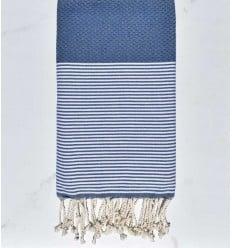 Bleu guède rayée blanc