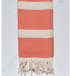 Fouta chevron orange et écru