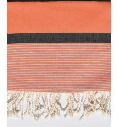 Jeté 1.50m/2.40m couleur orange corail et gris noir