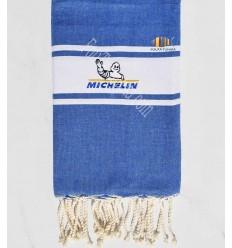 Fouta plate bleu jean avec broderie Michelin