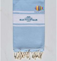 Fouta plate bleu ciel brodée comptoir sud pacifique