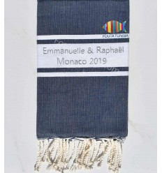 Fouta plate bleu jean foncé brodée au fil lurex argenté pour mariage