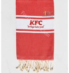 Fouta plate rouge brodée KFC