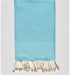 Serviette de plage nid d'abeille unie bleu azur clair
