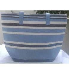 Sac de plage bleu clair, bleu minéral, blanc et gris noir