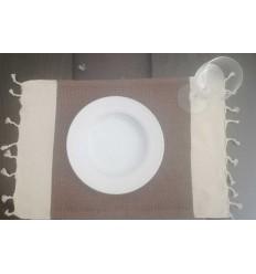 Mini serviette blanc crème et brun