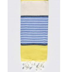 Serviette de plage enfant blanc crème, jaune, bleu et gris ardoise
