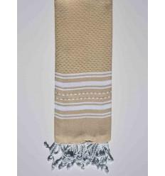 Mini serviette beige avec rayures