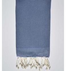 Serviette de plage unie bleu denim