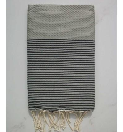 Fouta gris rayée gris anthracite