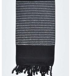 Fouta déco noir avec fil lurex argenté