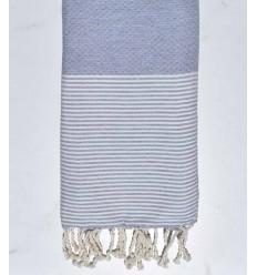 Serviette de plage plate gris bleu fumée