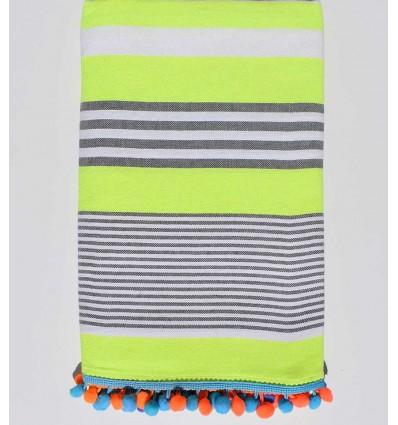 serviette de plage jaune fluo rayée blanc et gris