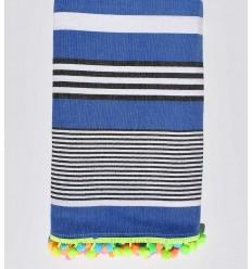 Serviette de plage bleu rayée blanc et noir