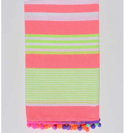 serviette de plage rose fluo rayée vert fluo et blanc