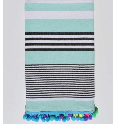 serviette de plage pompon rayée en noir et blanc