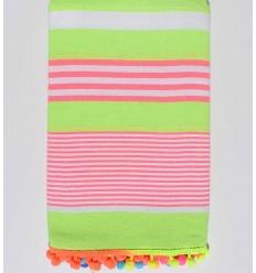 serviette de plage vert fluo rayée blanc et rose